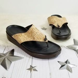 Donald J. Pliner cork thong sandals brown size 10